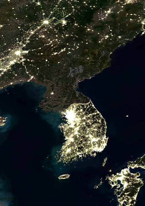 Korean Peninsula Print by Planet Observer and SPL and Photo Researchers