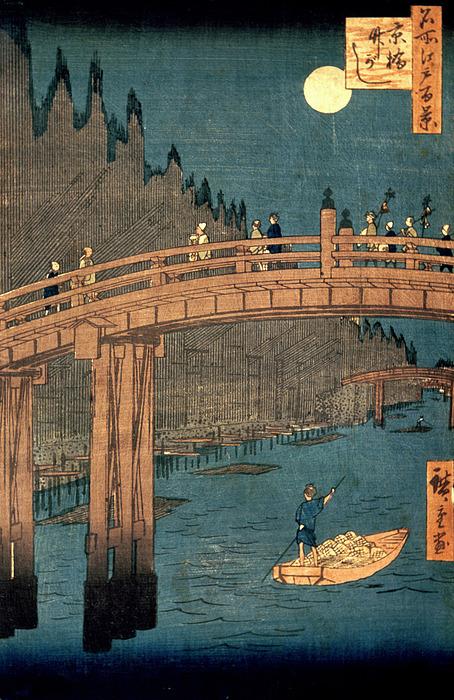 Kyoto Bridge By Moonlight Print by Hiroshige