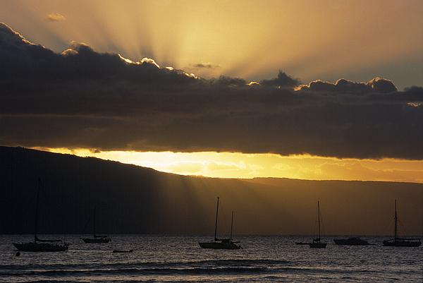 Lahaina Sunset - Maui Print by Sandra Bronstein