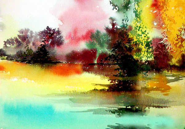 Lake In Colours Print by Anil Nene