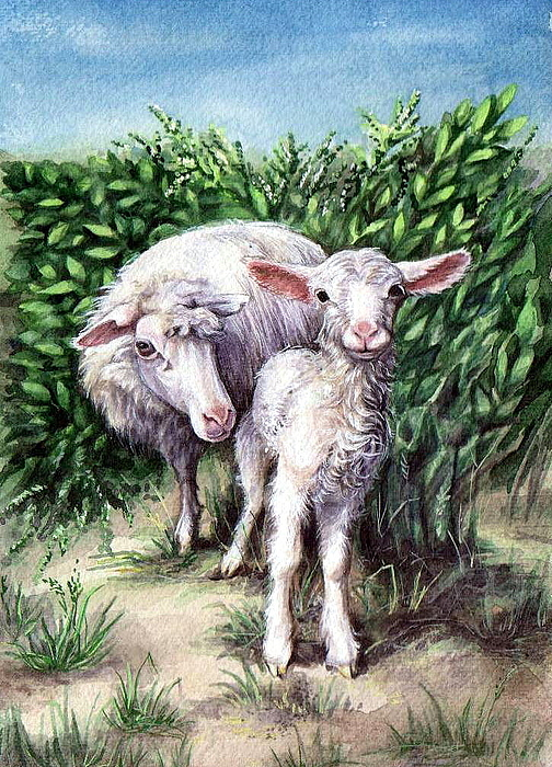 Lamb With His Mother Print by Larissa Prince