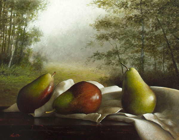 Landscape With Pears Print by Larry Preston