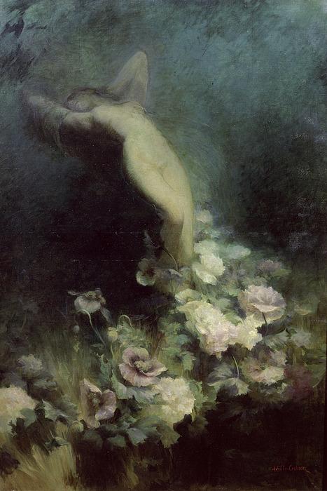 Les Fleurs Du Sommeil Print by Achille Theodore Cesbron