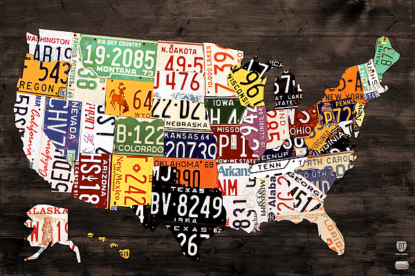 License Plate Map Of The United States - Warm Colors / Black Edition Print by Design Turnpike
