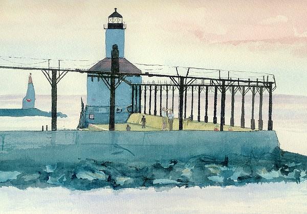 Lighthouse In Michigan City Print by Lynn Babineau
