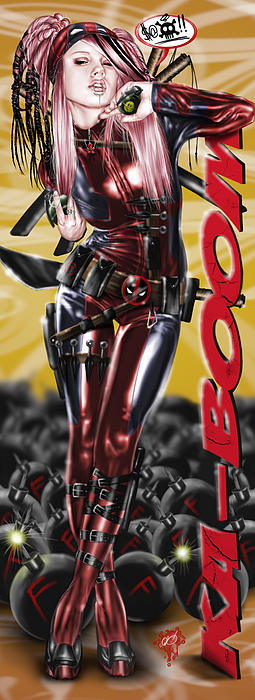 Lil Miss Deadpool Print by Pete Tapang