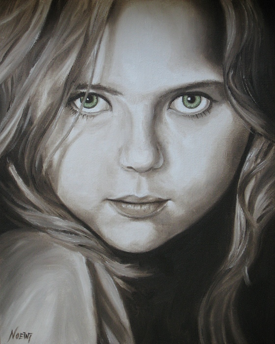 Little Girl With Green Eyes Print by Jindra Noewi