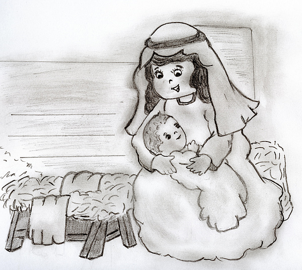 Little Mary And Baby Jesus Print by Sonya Chalmers