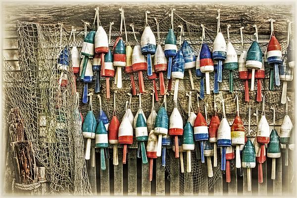 Carolyn Derstine - Lobster Buoys on a Shed