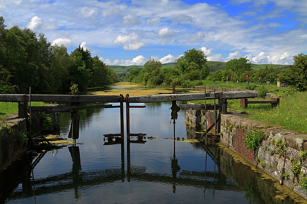 Lock Gates On The Old Canal Print by Louise Heusinkveld
