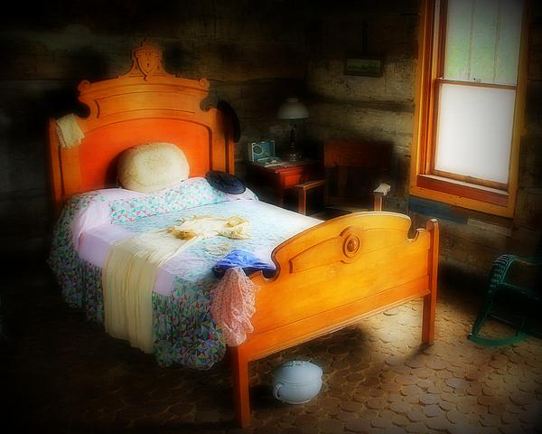 Log Cabin Bedroom Print by Perry Webster