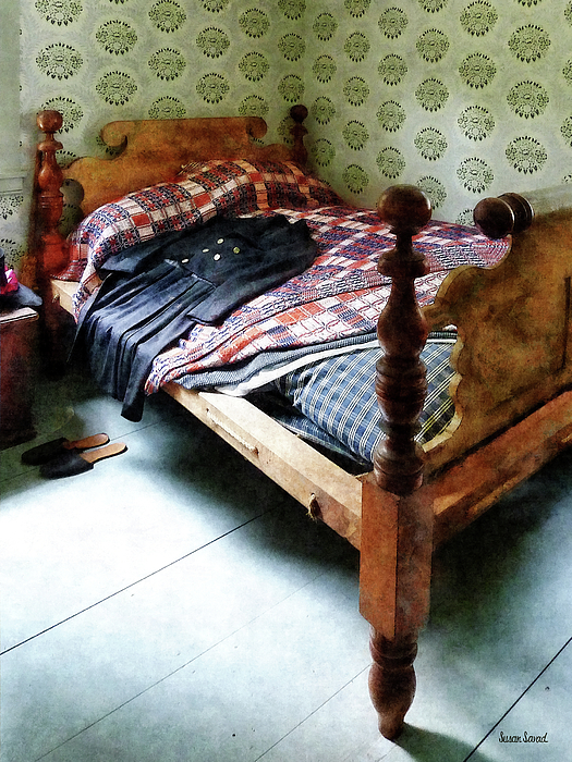 Long Sleeved Dress On Bed Print by Susan Savad