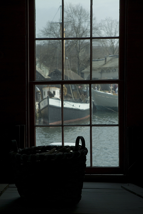 Looking Out Through A Window At Wooden Print by Todd Gipstein