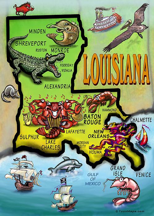Louisiana Cartoon Map Print by Kevin Middleton