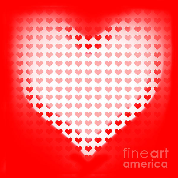 Love Of Valentines Background. Big Red Heart Print by Ryan Jorgensen