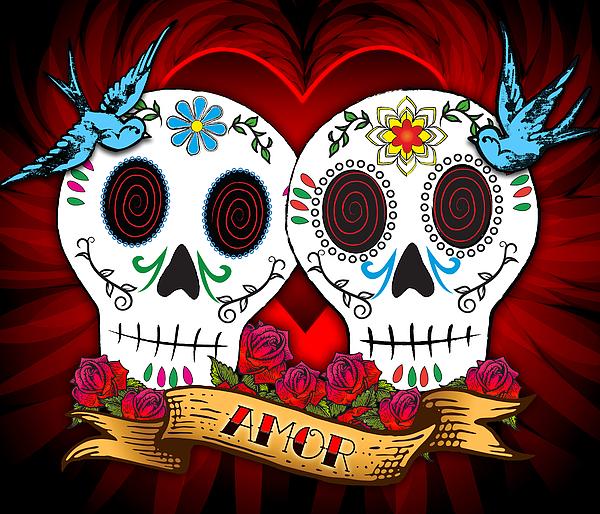Love Skulls Print by Tammy Wetzel