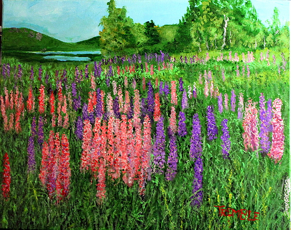 Lupine by the sea print by william tremble