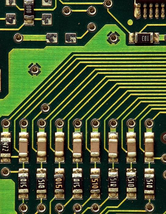 Macro Image Of A Computer Motherboard Print by Yali Shi