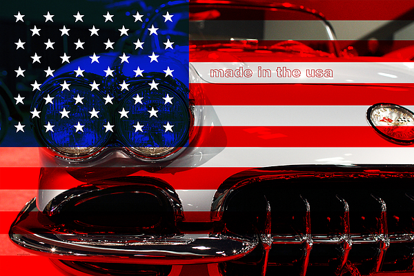 Made In The Usa . Chevy Corvette Print by Wingsdomain Art and Photography