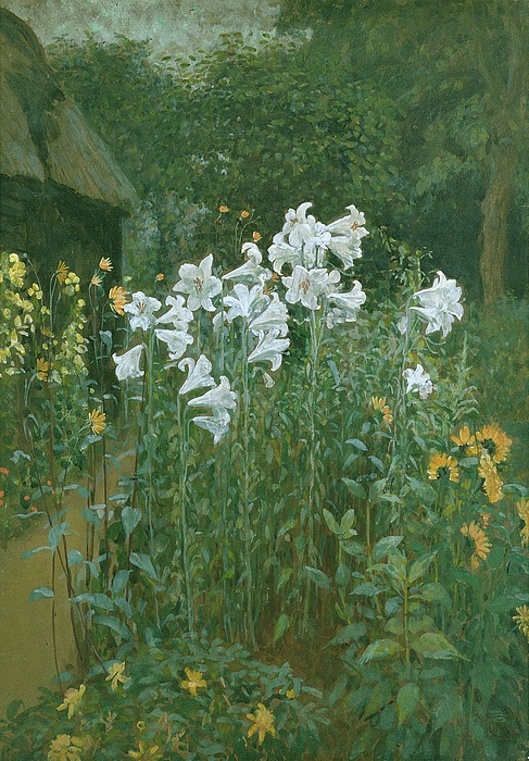 Madonna Lilies In A Garden Print by Walter Crane