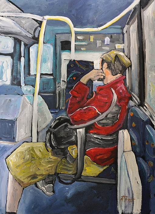 Man On 107 Bus Verdun Print by Reb Frost
