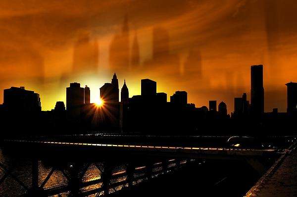 Manhattan Silhouette Print by Svetlana Sewell
