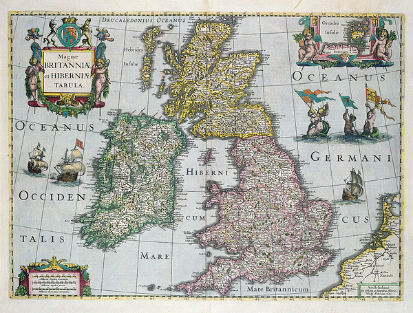 Map Of Britain Print by English school