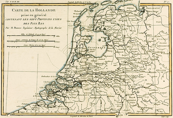 Map Of Holland Including The Seven United Provinces Of The Low Countries Print by Guillaume Raynal