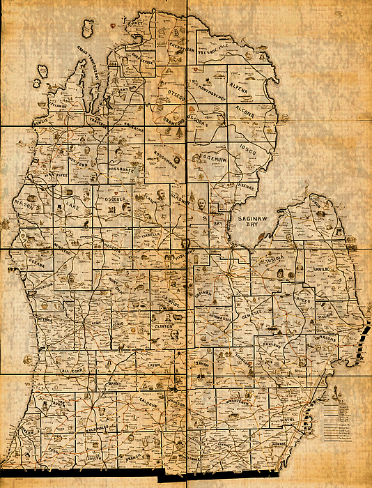 Map Of Michigan Vintage Railroad Train Routes Hand Drawn On Worn Distressed O