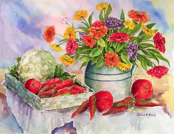 Margie's Veggies Print by Barbel Amos