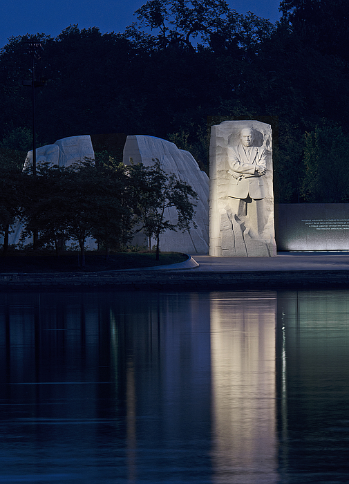 Martin Luther King Jr Memorial Overlooking The Tidal Basin - Washington Dc Print by Brendan Reals
