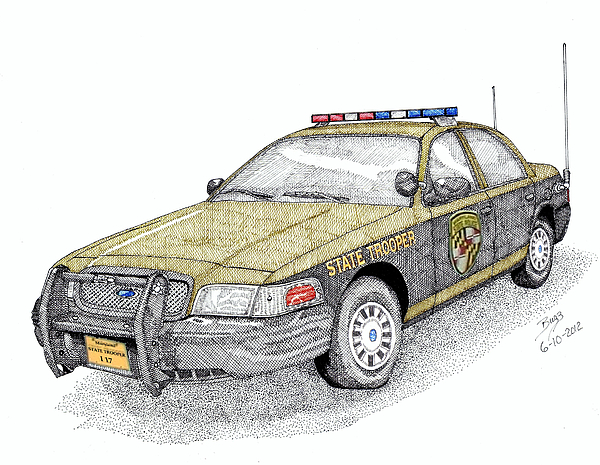 Maryland State Police Car Style 1 Print by Calvert Koerber