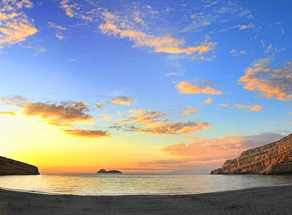 Matala Bay Sunset Print by Paul Cowan