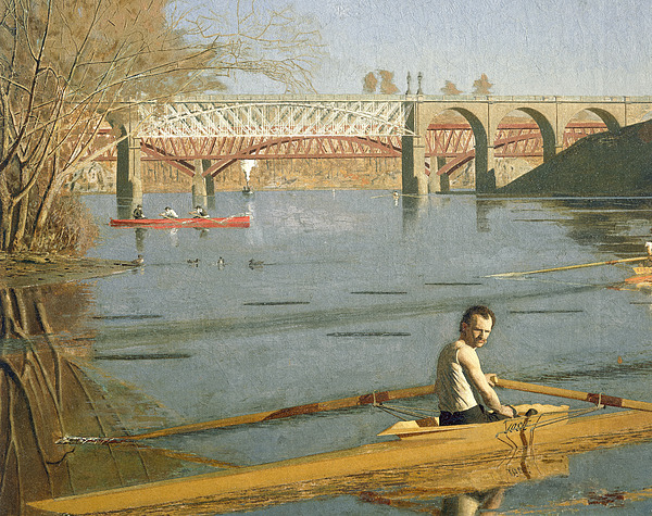 Max Schmitt In A Single Scull Print by Thomas Eakins