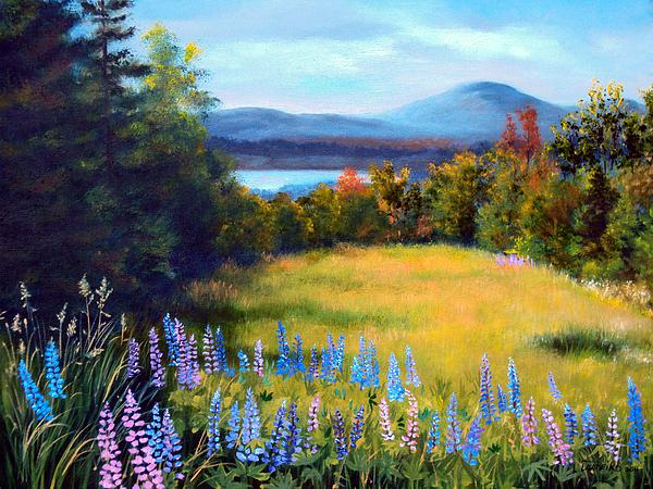 Meadow Lupine II Print by Laura Tasheiko