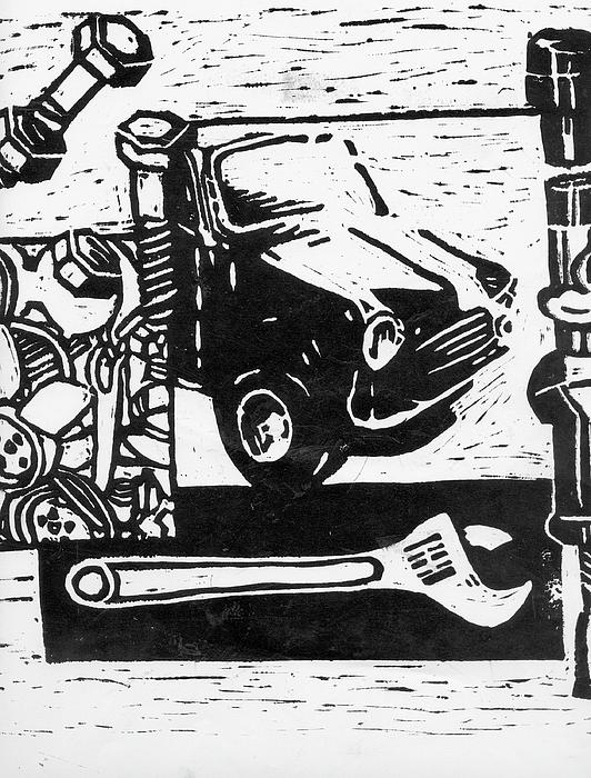 Mechanical Linoprint Print by Tom  Layland