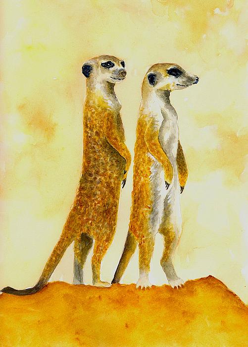Meerkats Print by Michael Vigliotti