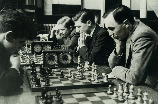 Men Concentrate On Chess Matches, 1940s Print by Archive Holdings Inc.