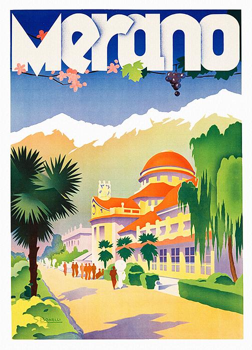 Meran Italy  city photo : Merano Meran Italy Vintage Italian Spa Travel Print by Just ...