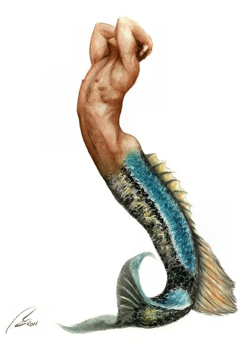 Merman Print by Bruce Lennon