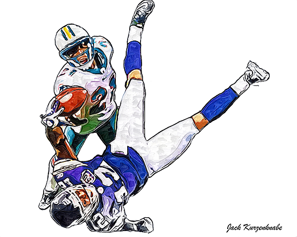 Miami Dolphins Vontae Davis And Minnesota Vikings Percy Harvin  Print by Jack K