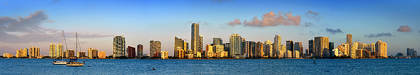 Miami Skyline In Morning Daytime Panorama Print by Jon Holiday