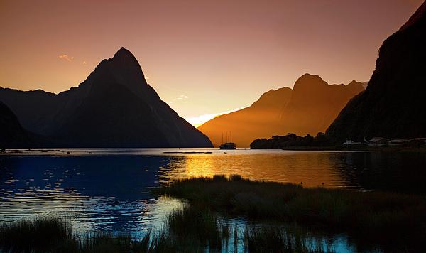 Milford And Mitre Peak At Sunset Print by Odille Esmonde-Morgan