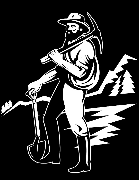 Miner With Pick Axe And Shovel  Print by Aloysius Patrimonio