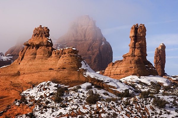 Mist Rising In Arches National Park Print by Utah Images