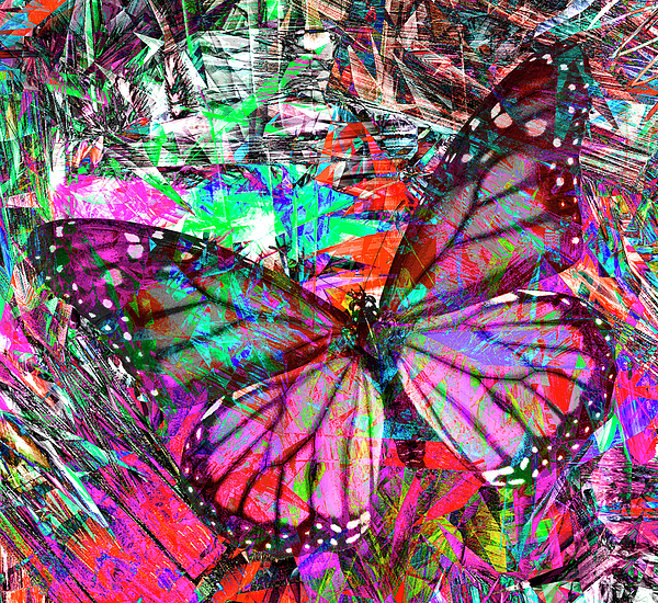 Rayanda Arts - Monarch Butterfly Pink and Black Decorative Abstract
