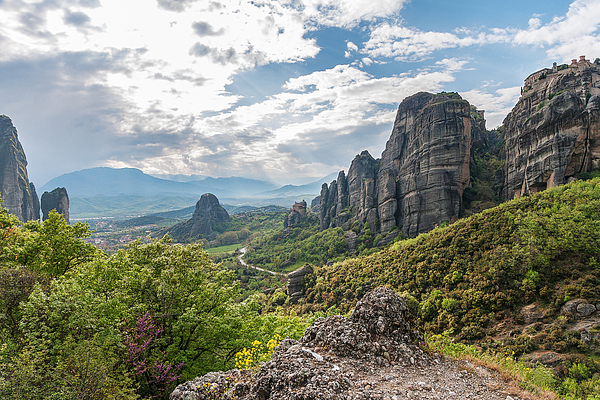 Monastery And Meteora Valley Greece Print by Greg Brave