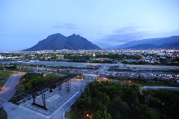 Monterrey At Dusk With Cerro De La Print by Raul Touzon
