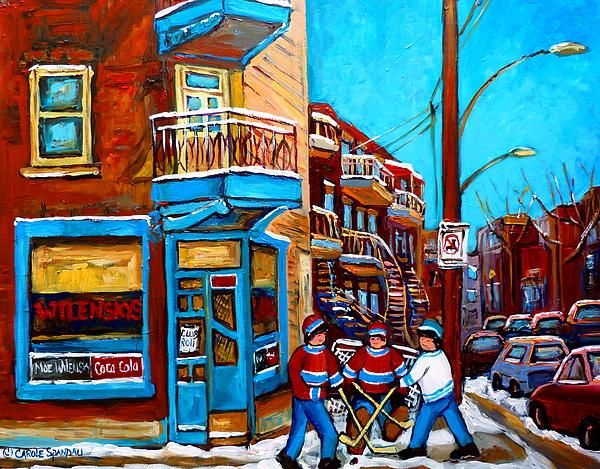 Montreal City Scene Hockey At Wilenskys Print by Carole Spandau