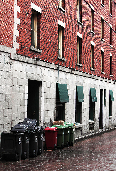 Montreal Garbage Cans Print by John Rizzuto